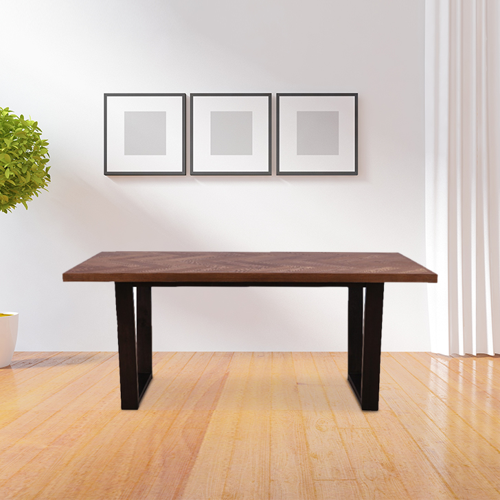 Hampstead Solid Wood Six Seater Dining Table in Walnut Colour by HomeTown