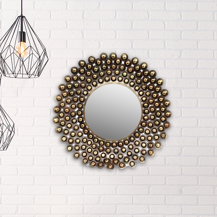 Payal Mirror Iron Large Wall Accents in Mettalic Brown Colour by Royce