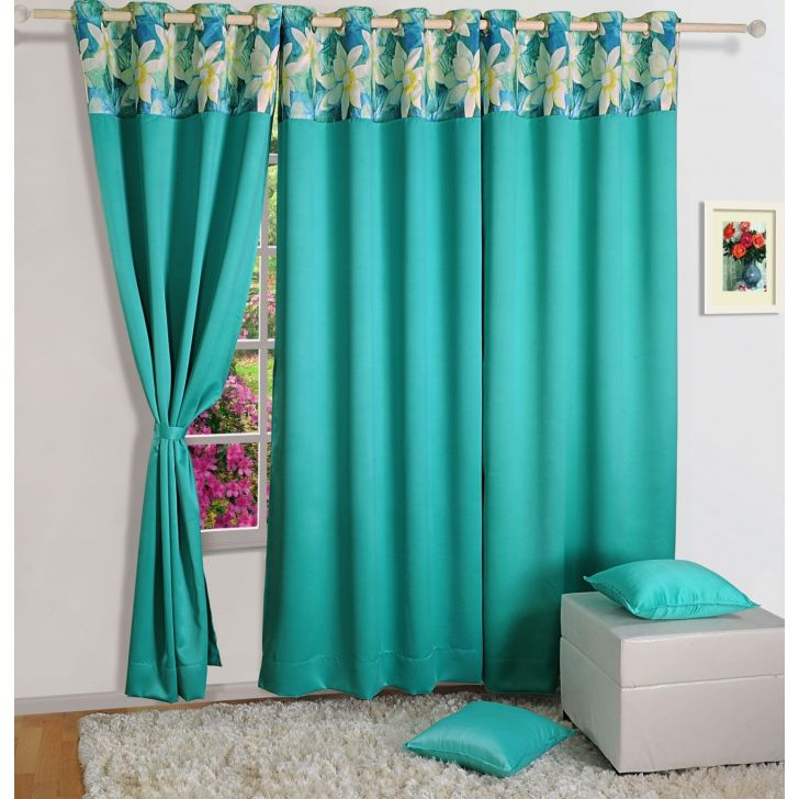 Solid Blackout Long Door Curtain In Turq Color By Swayam
