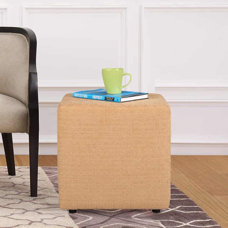 Bonita Fabric Ottoman in Beige Colour by HomeTown