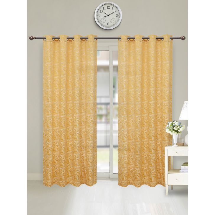 Fiesta Jacquard Set of 2 Cotton Door Curtains in Mustard Colour by Living Essence