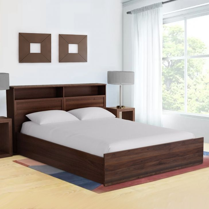 Alyssa Engineered Wood Box Storage Queen Size Bed in Wenge Colour by HomeTown