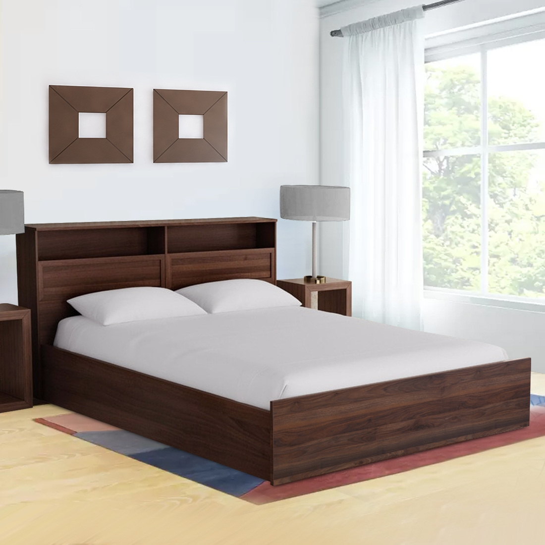 Buy Alyssa Engineered Wood Box Storage Queen Size Bed In