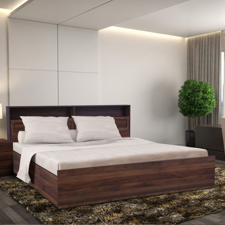 Alyssa Engineered Wood Queen bed with Box storage in Wenge Colour