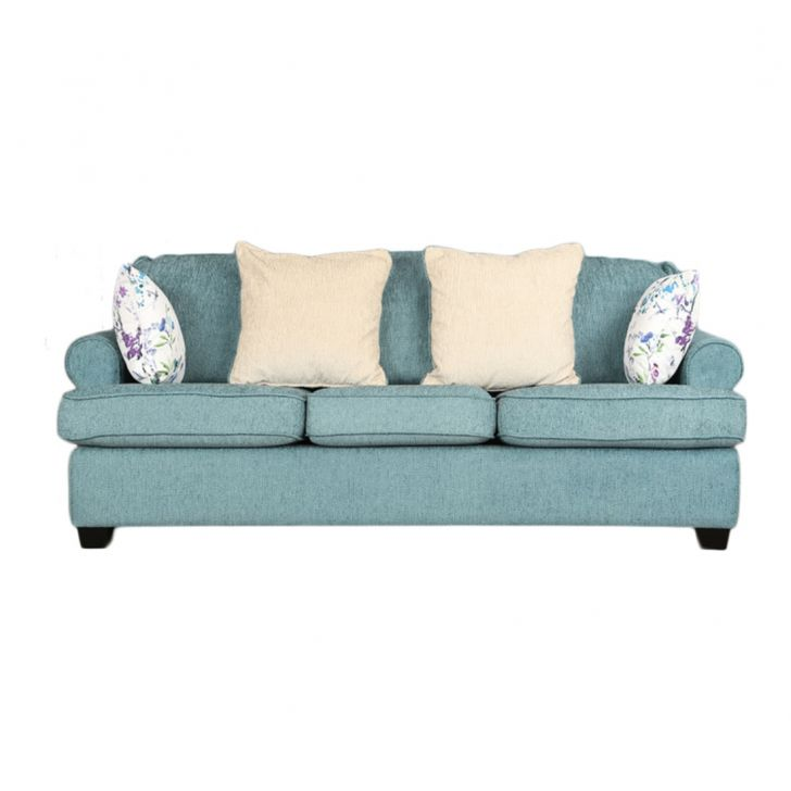 Nicholas Fabric Three Seater sofa in Turquoise Colour by HomeTown