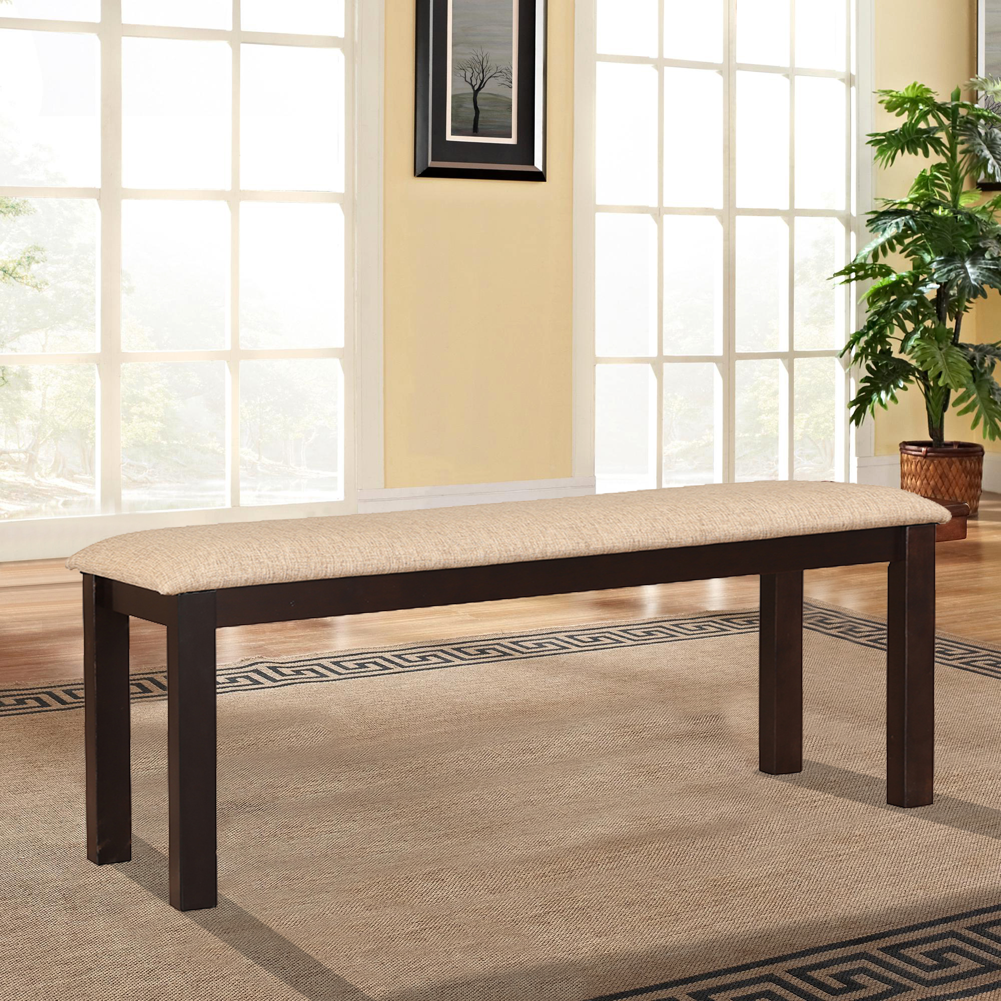Bahubali rubber wood dining bench in walnut colour by hometown