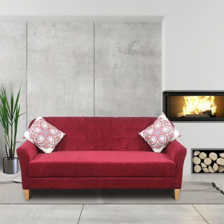 Barter Solid Wood Three Seater Sofa in Maroon Colour by HomeTown