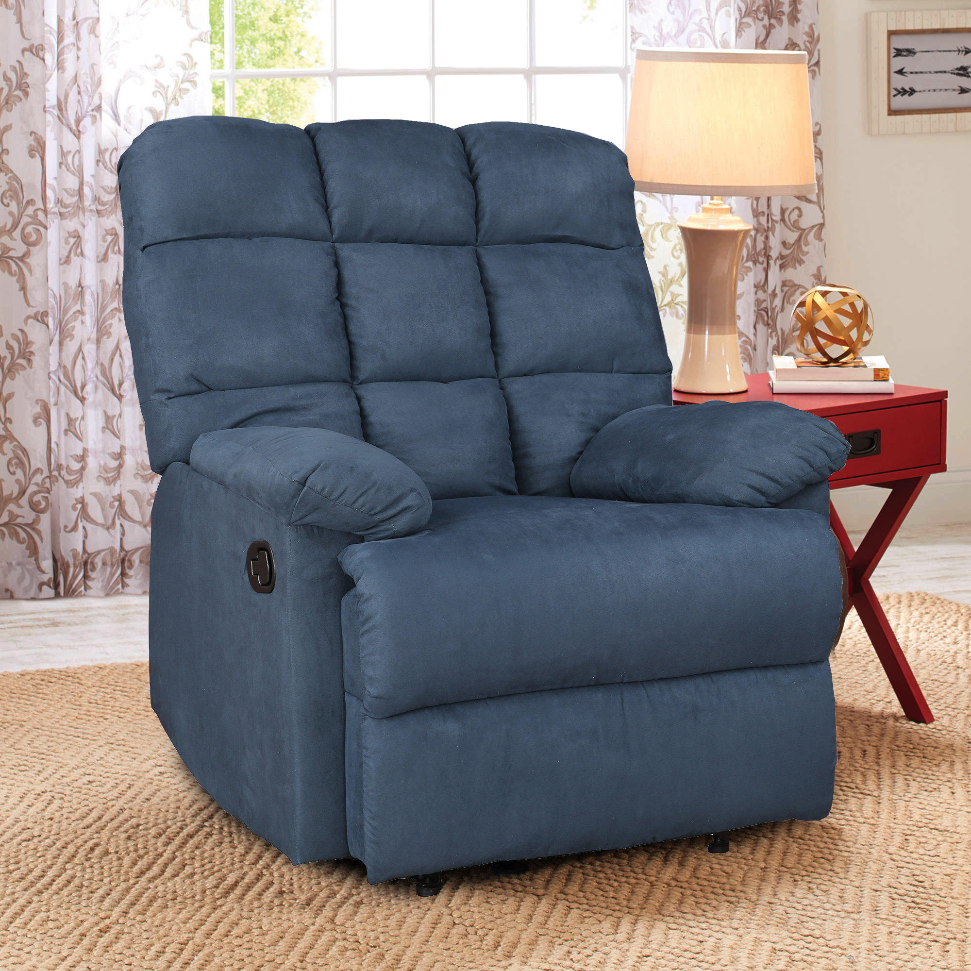 Graham Fabric Single Seater Recliner in Blue Colour by HomeTown