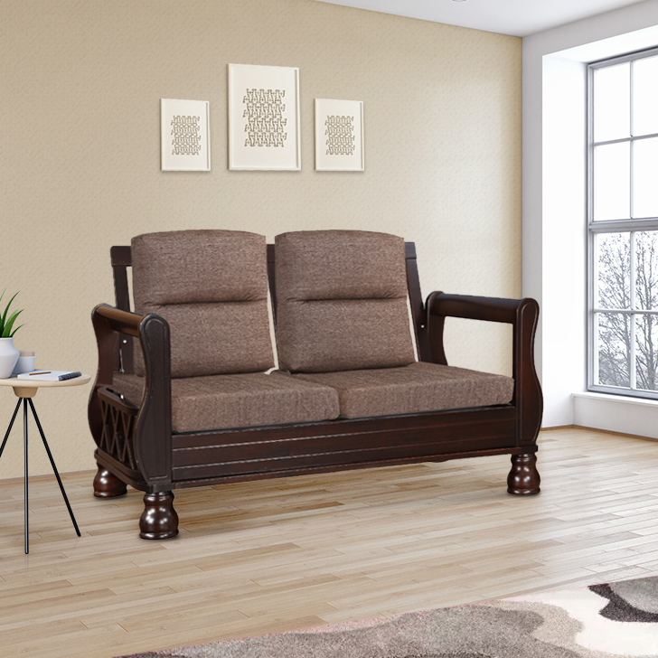 Clyde Solid Wood Two Seater Sofa With Cushion in Dark Cappuccino Colour by HomeTown