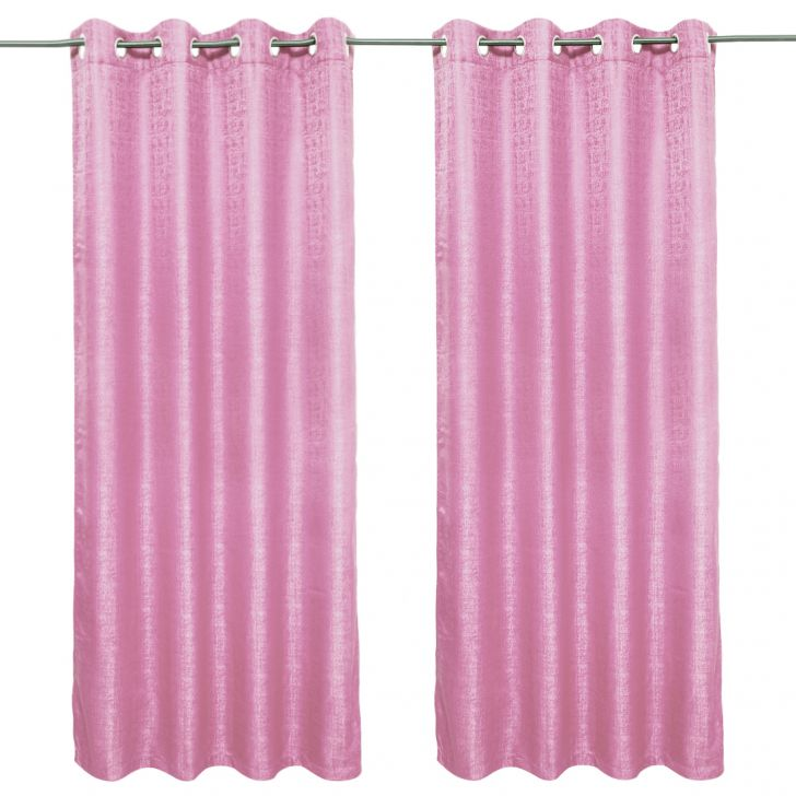 Nora Solid set of 2 Polyester Door Curtains in Rose Colour by Living Essence
