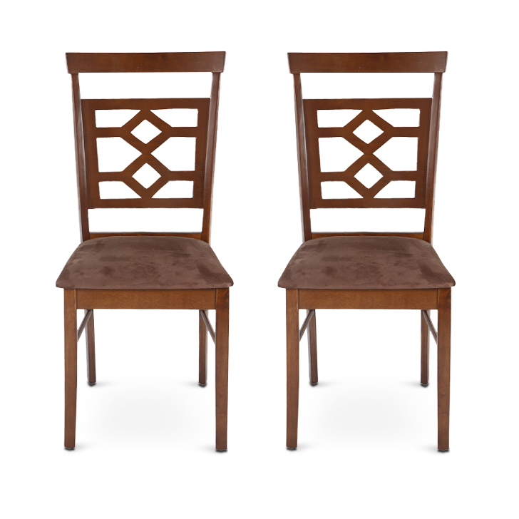 Eva Fabric Dining Chair Set of Two in Wenge Colour by HomeTown