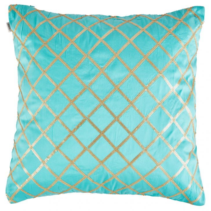 Palace Life Diamond Polyester Cushion Covers in Aqua Colour by Living Essence