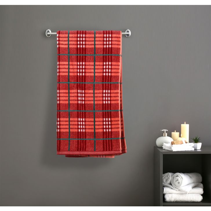 Yarn Dyed Check Cotton Bath Towels in Red Colour by Dreamline