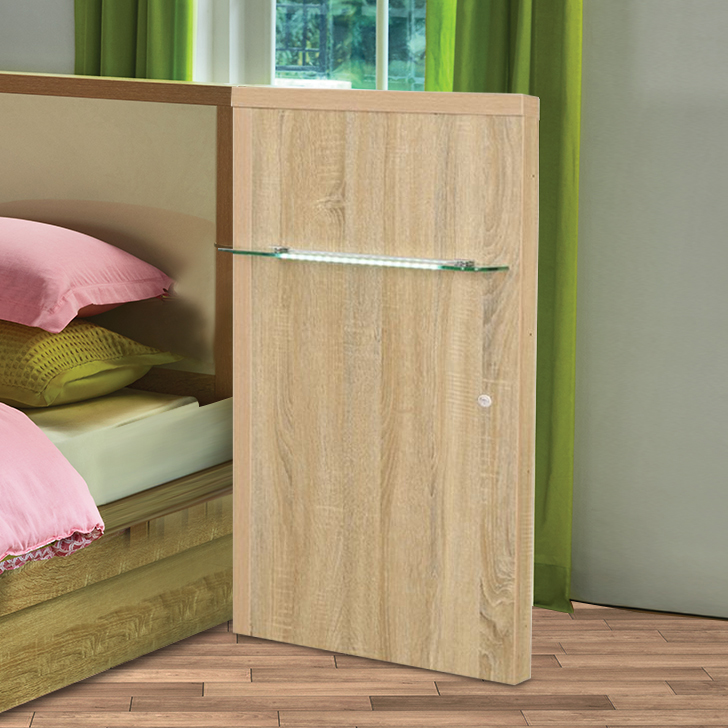 Geo Engineered Wood Bedside Table in Walnut Colour by HomeTown