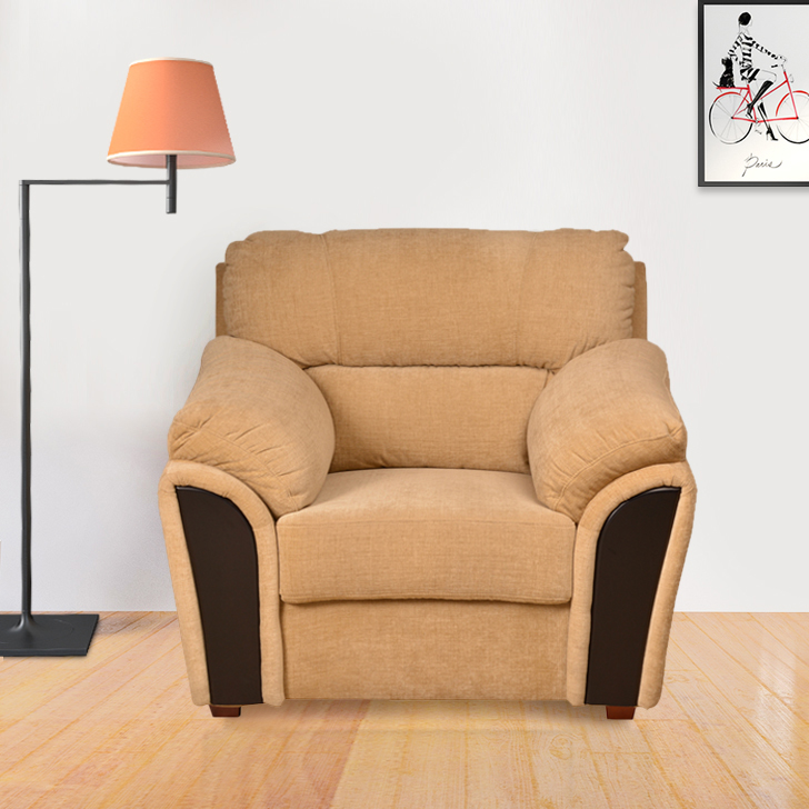 Ohio Fabric Single Seater Sofa in Beige Colour by HomeTown