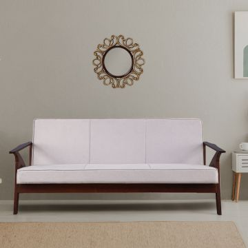 Patrick Solid Wood Three Seater Sofa in Grey Colour by HomeTown