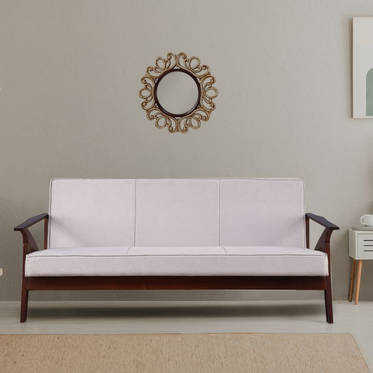 Patrick Solid Wood Three Seater Sofa in Grey Color by HomeTown
