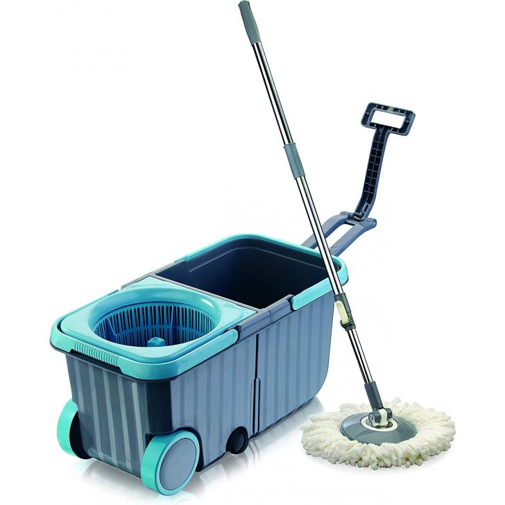 Twin Tub Mop Bucket with Wheels - One Refill Free Plastic in Blue Colour by Dreamline