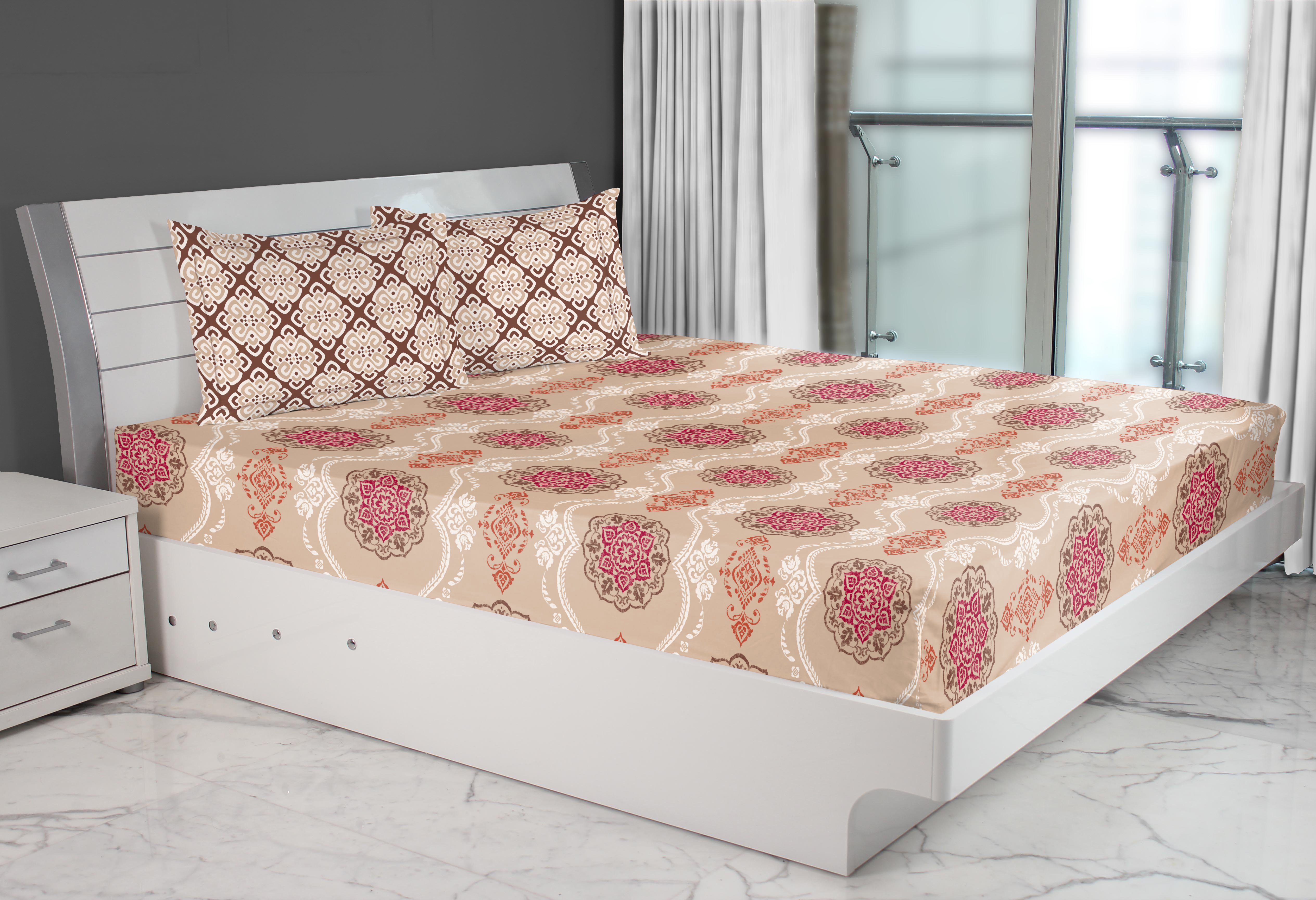 Emilia Cotton Double Bed Sheets in Beige Colour by Living Essence