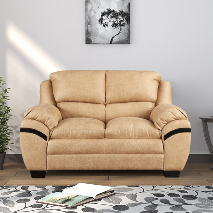 Eleanor Fabric Two Seater sofa in Beige Colour by HomeTown