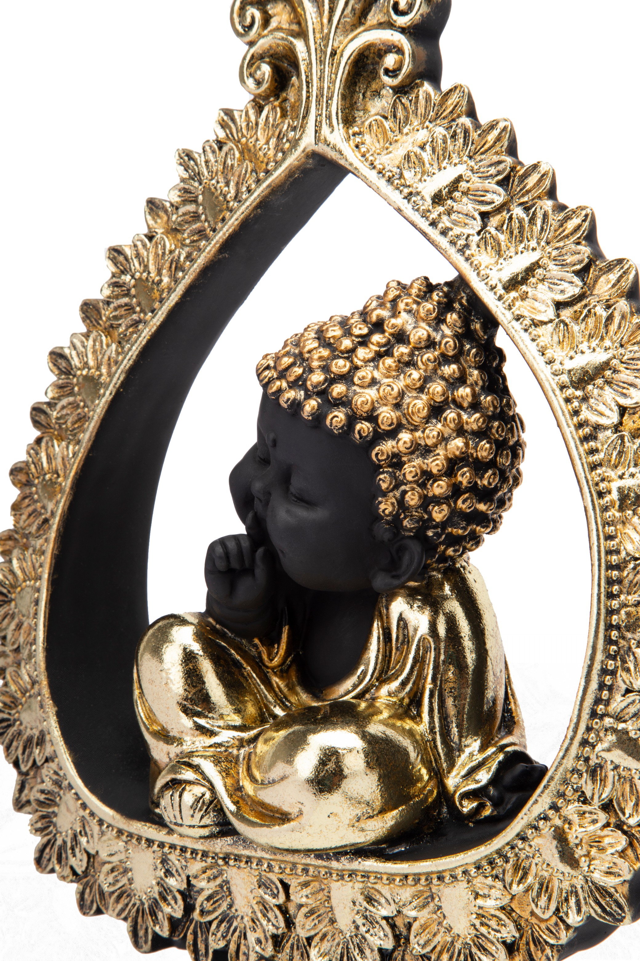 FIO QUIET MONK IN PEACE FLAME BLACK Figurines in Black Colour by Living Essence