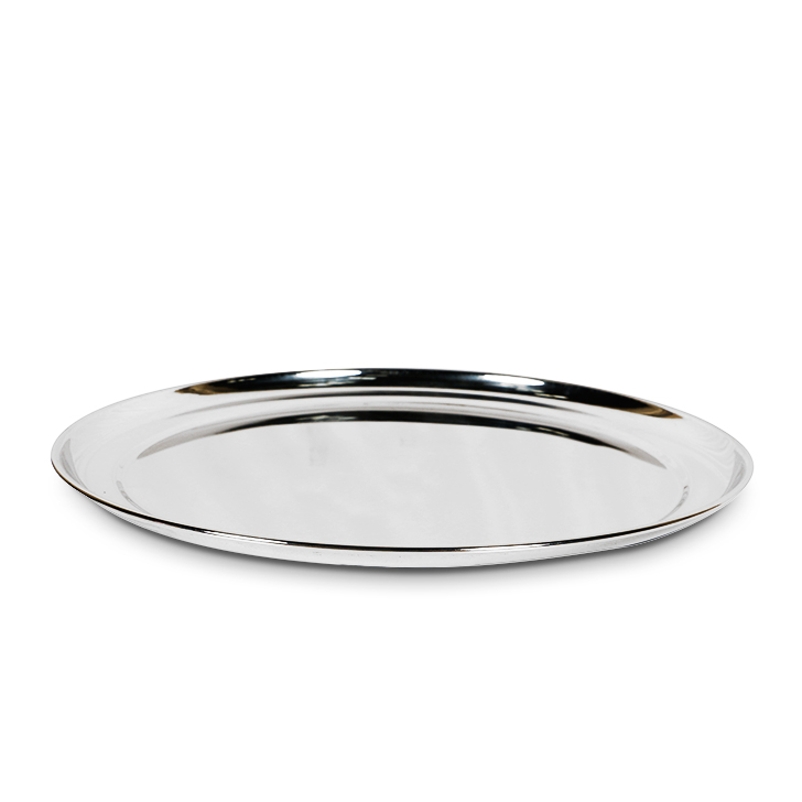 Silver Stainless Steel Rajbhog Plate Stainless steel Plates in Silver Colour by Living Essence
