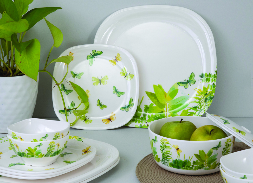 Butterfly Breeze Sqare round 14 Pcs Dinner set Dinner Sets in Green Colour by Living Essence
