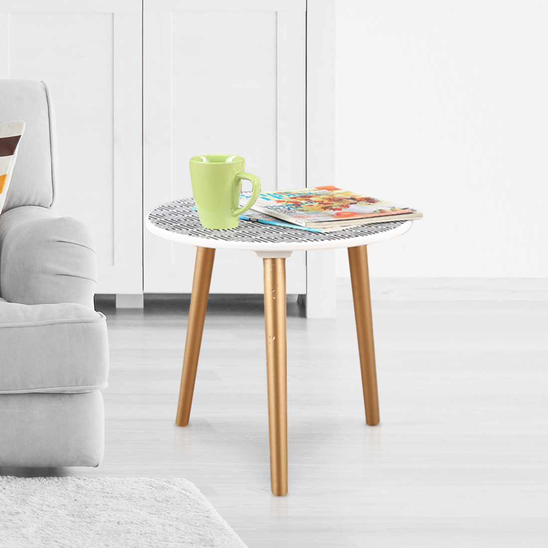 Ardina Engineered Wood Side Table in Black And White Colour by HomeTown