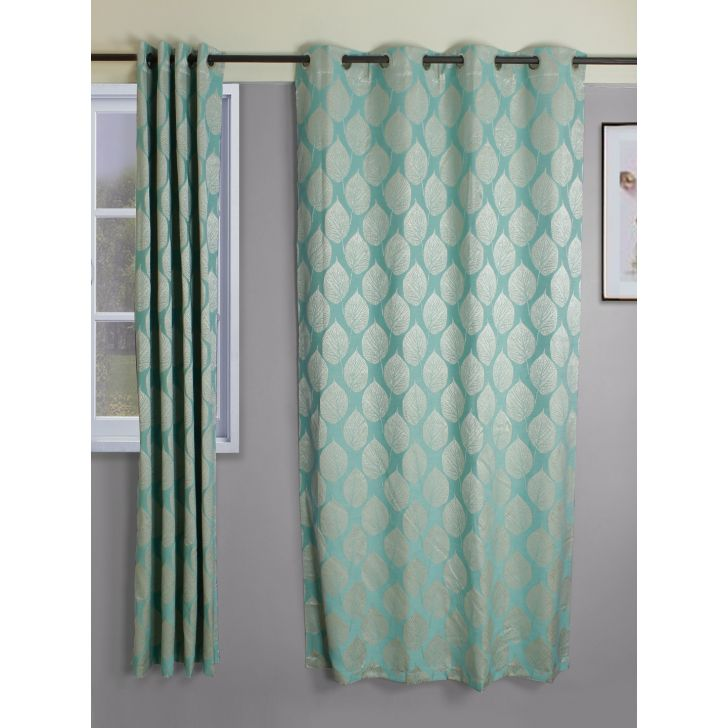 Setof 2 Amour Jacquard Polycotton Door Curtains in Turquoise Colour by Living Essence
