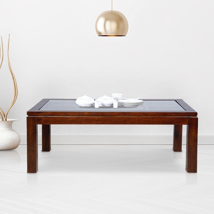 Crystal Solid Wood Center Table in Walnut Colour