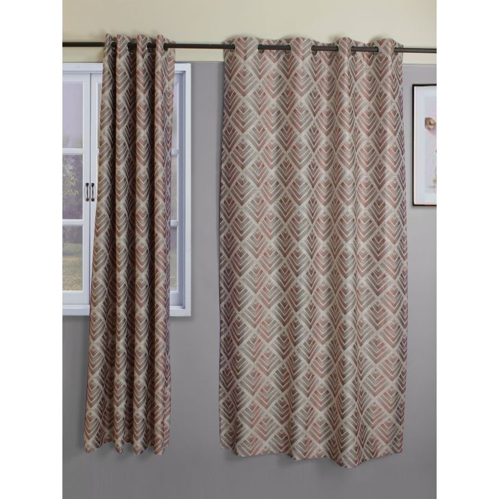 Set of 2 Amour Polyester Door Curtains in Offwhite Colour by Living Essence