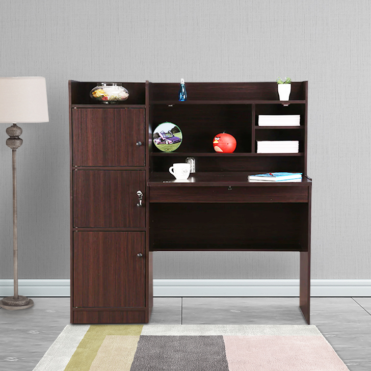 Buy Vento Engineered Wood Study Table In Walnut Colour By