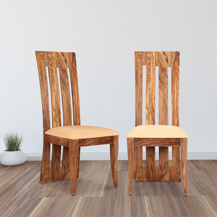 Nouveau Solid Wood Dining Chair Set of Two in Honey Colour by HomeTown