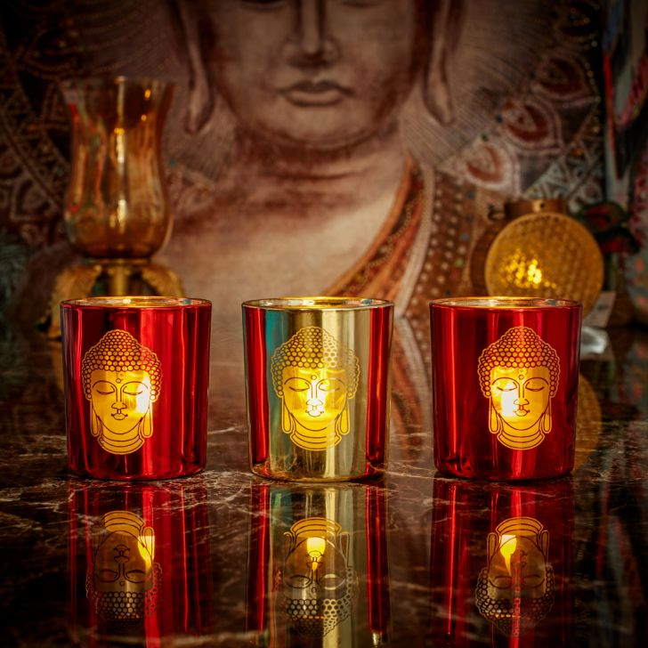 Zahara Set Of 3 Buddha Face Glass Candle Holders in RED GOLD Colour by Living Essence