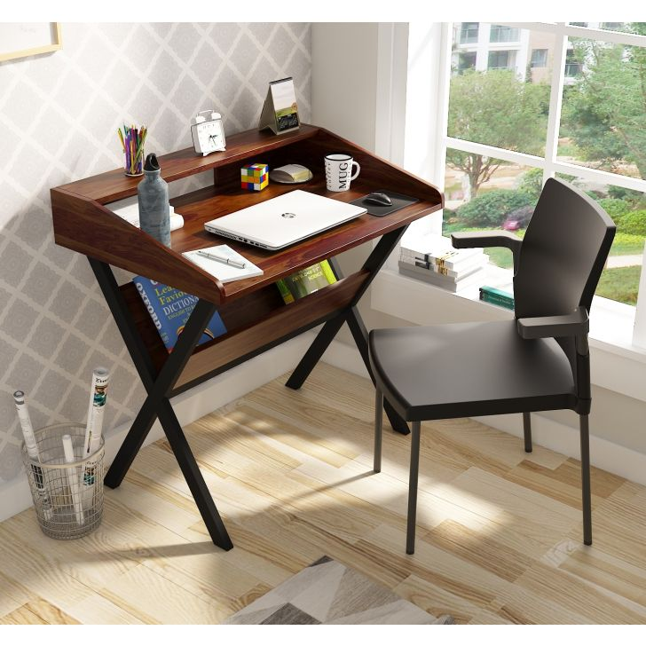 Victory Engineered Wood Study Table in Natural Sheesham Colour
