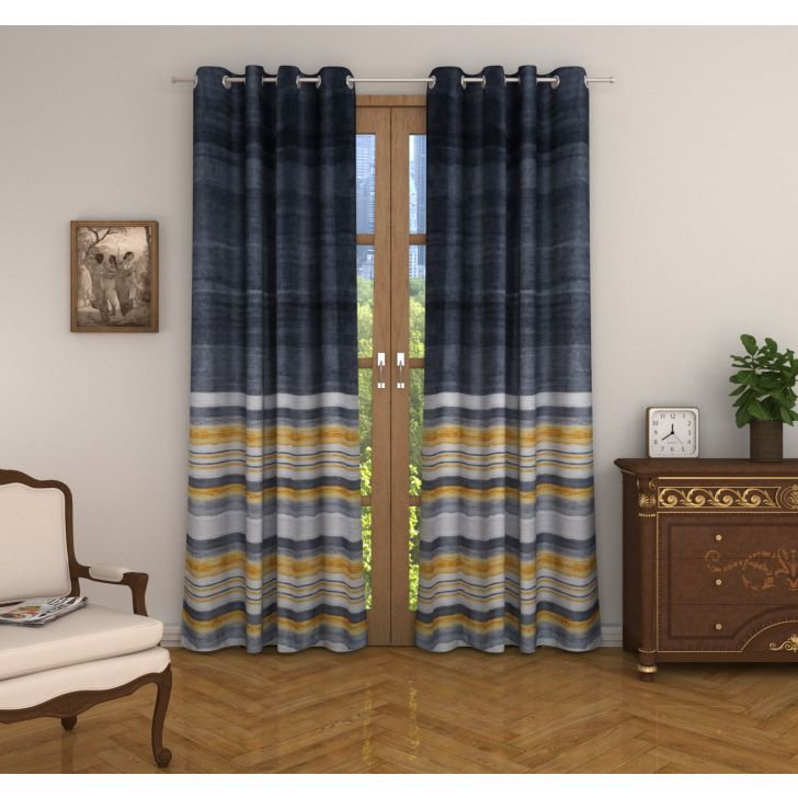 Nora Print Set of 2 Door Curtain in Charcoal Colour