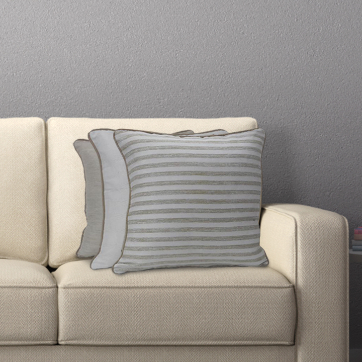 Set Of 3 Cc 16X16 Fiesta Off White Polyester Cushion Cover Sets in Offwhite Colour by Living Essence