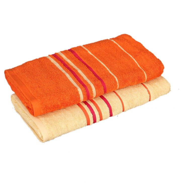 Emilia Bath Towel Butterscotch & Orange Carded Cotton Bath Towels in Butterscotch & Orange Colour by Living Essence