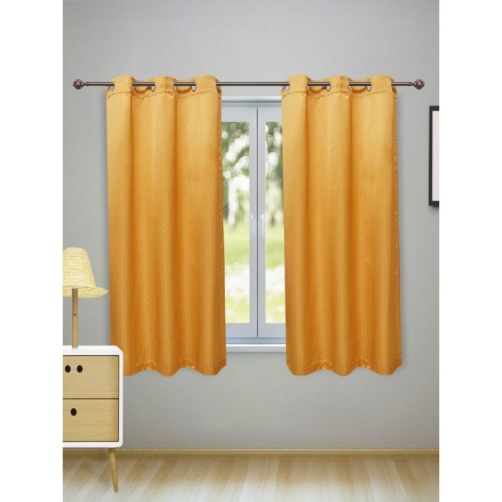 Fiesta Set of 2 Polyester Window Curtains in Mustard Colour by Living Essence
