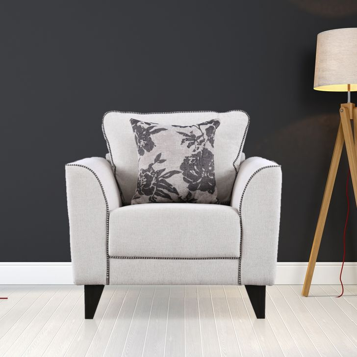 Chester Fabric Single Seater Sofa in Beige Color by HomeTown