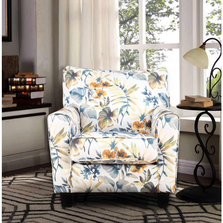 Nicholas Fabric Arm Chair in Beige Colour by HomeTown