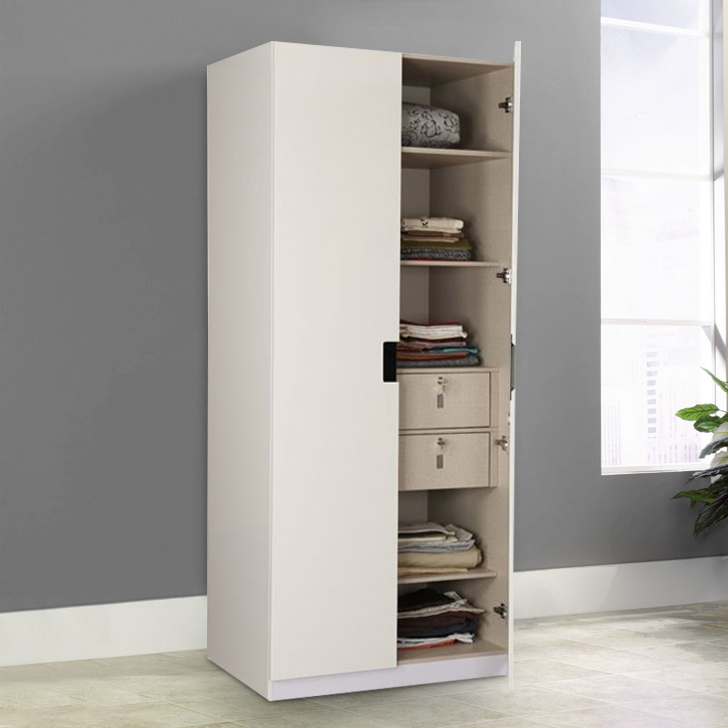 Edwina Engineered Wood Two Door Wardrobe in White High Gloss Colour by HomeTown