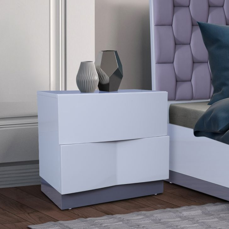 Collin High Gloss Night Stand in Grey Colour