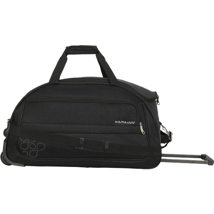 Gaho 50 cm Polyester Duffle on Wheel in Black Colour by Kamiliant