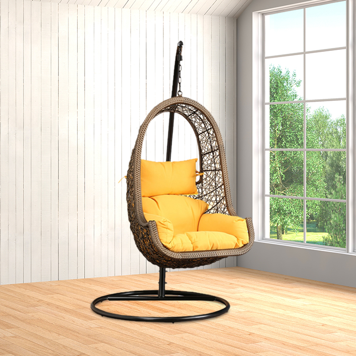 Juniper Mild Steel Outdoor Swing in Brown Colour by HomeTown