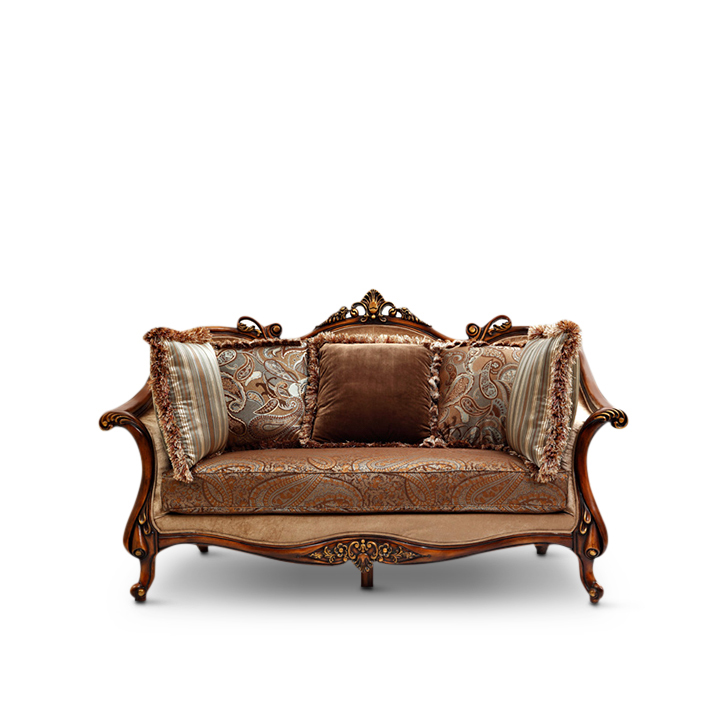 Monarch Rubber Wood Two Seater sofa in Brown Colour by HomeTown