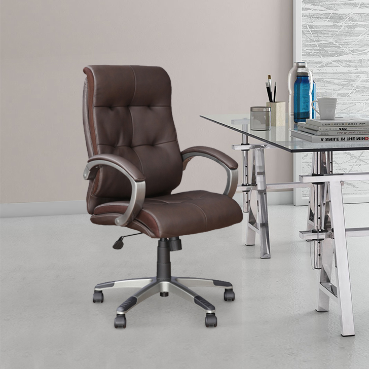 Hugo Polyurethane Office Chair in Brown Colour by HomeTown