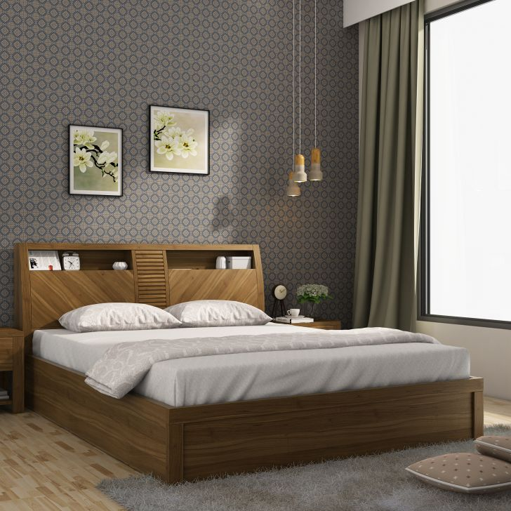Monarch Engineered Wood Half Hydraulic Queen Size Bed in Natural Teak Colour by HomeTown