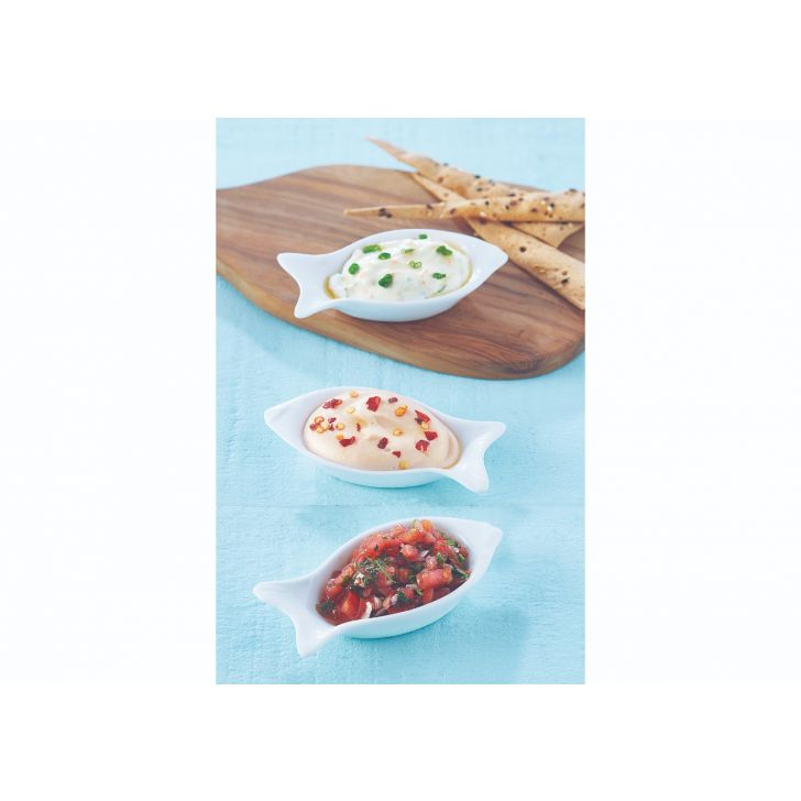 Fish Dip Set Ceramic Serving Sets in White Colour by Songbird