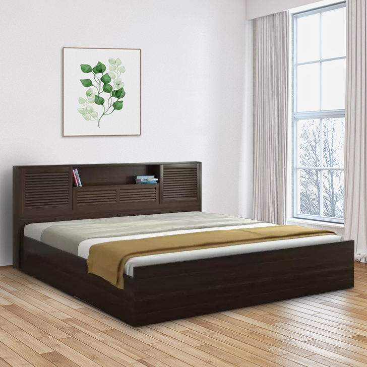 Bolton Engineered Wood Hydraulic Storage King Size Bed in Wenge Colour by HomeTown